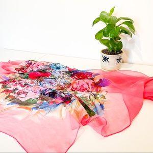 Hot Pink Floral Rose Scarf